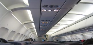 an inside view of airline seat in the middle