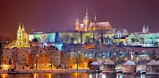 View of Prague Castle, Vltava and Charles Bridge. Prague is one of the most beautiful Europe destination to visit when you're in a budget