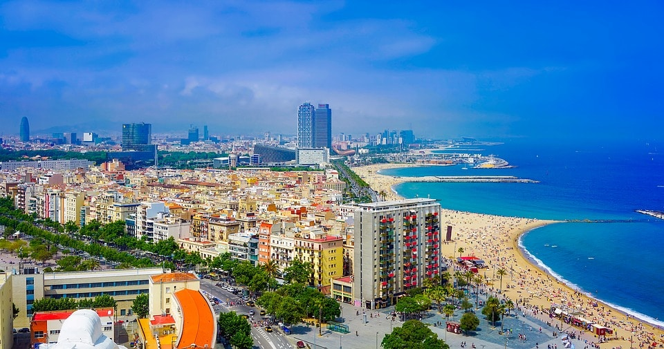 Urban Beaches of Barcelona in Spain