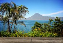 Lake Atitlan with a Volcano