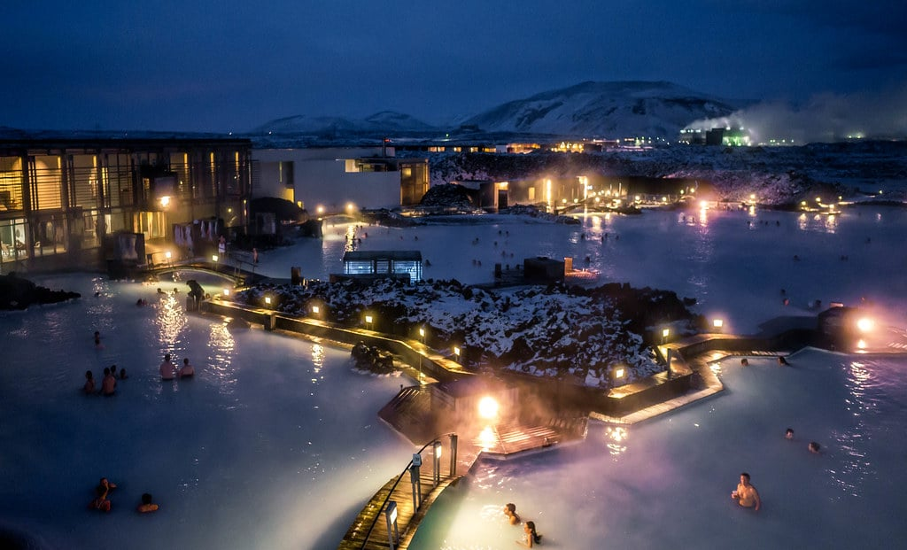 The Blue Lagoon looks mesmerizing after the sun goes down