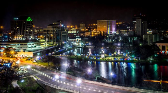 A panoramic view of Huntsville at night