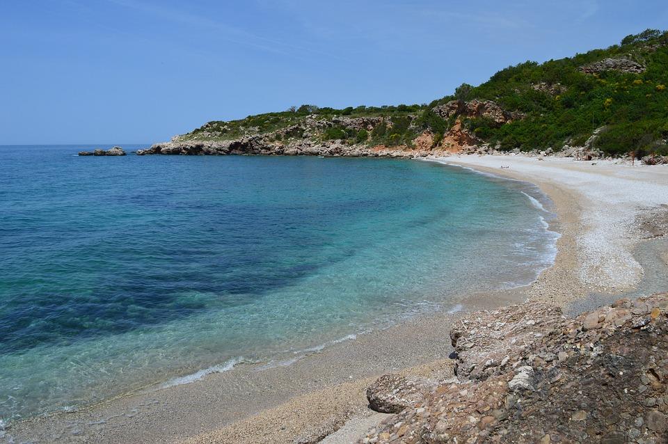 Rocks around the beach of Buljarica in Montenegro