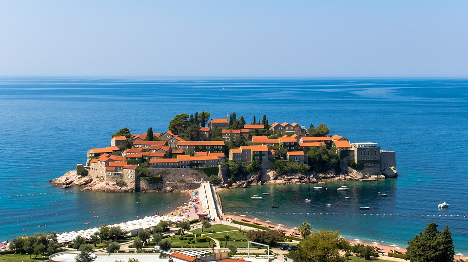 Sveti Stefan Town surrounded by the Adriatic Sea