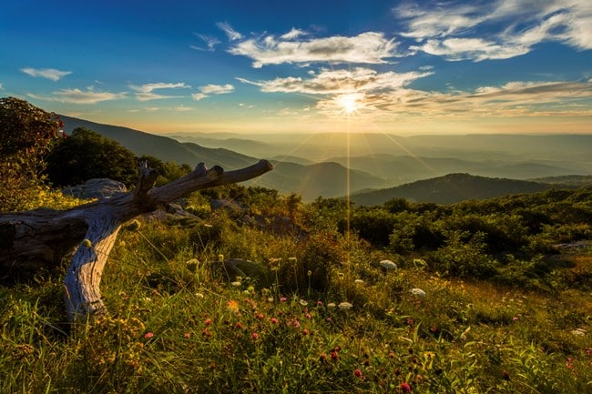 The splendid view of Shenandoah National Park near Harrisonburg