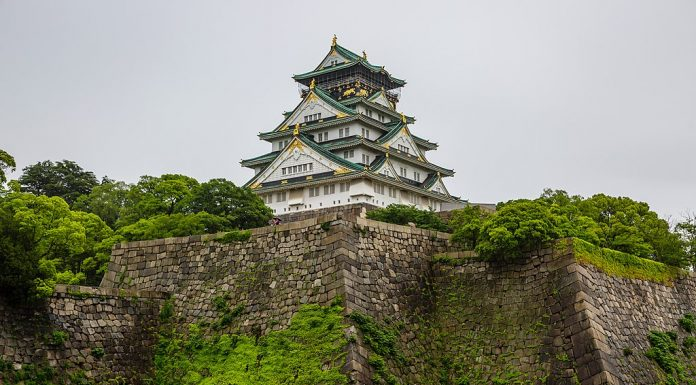 The Osaka Castle on Mossy Walls
