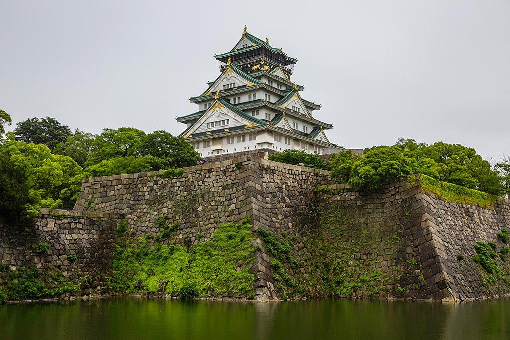 The Osaka Castle on Mossy Walls
