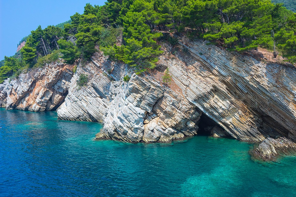 Cliffs near the beach in Petrovac