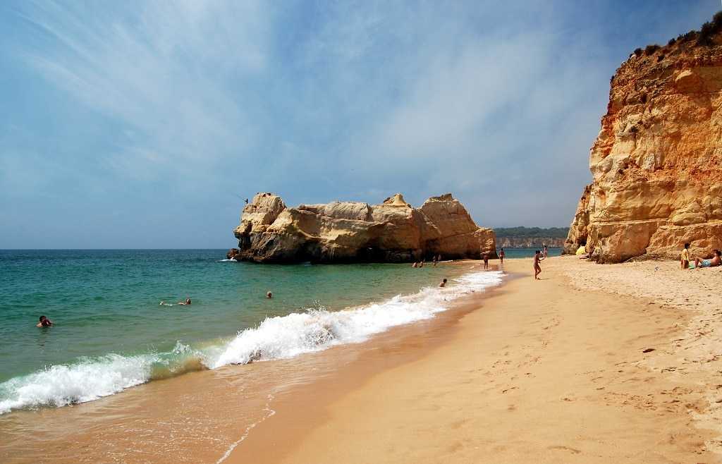 The rocks and sand at Praia da Rocha