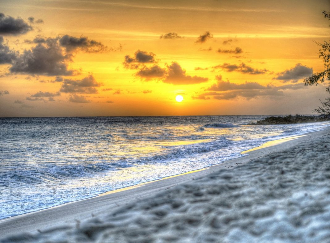 Hypnotizing sunset on the beach in Barbados