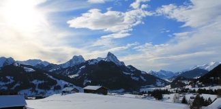 White Snow-Capped Peaks of Gstaad, Switzerland
