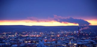 The City of Rovaniemi in Finland covered in snow