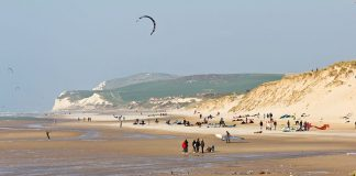 Wissant Beach and its golden sand, France