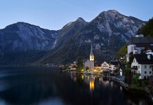 Hallstatt by the lake, surrounded by Alps