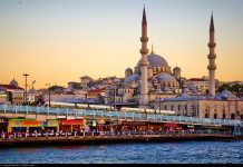 A Mosque in Istanbul seen at sunset