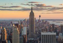 Breathtaking sunset in New York