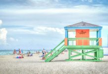 A beach in Florida with a lifeguard