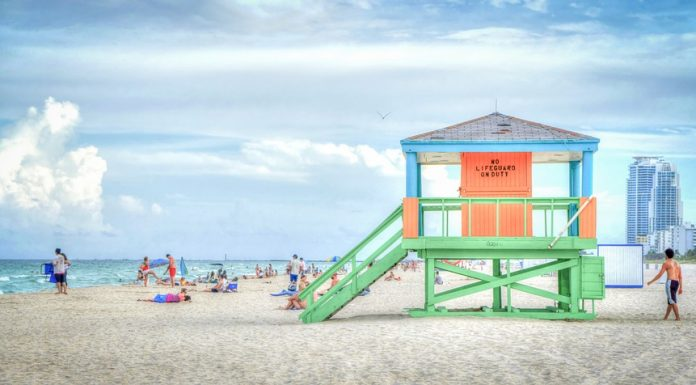 A beach in Florida with a lifeguard