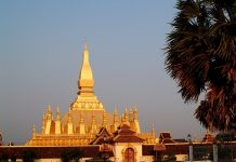 Golden Pagoda at Sunset in Vientiane, Laos