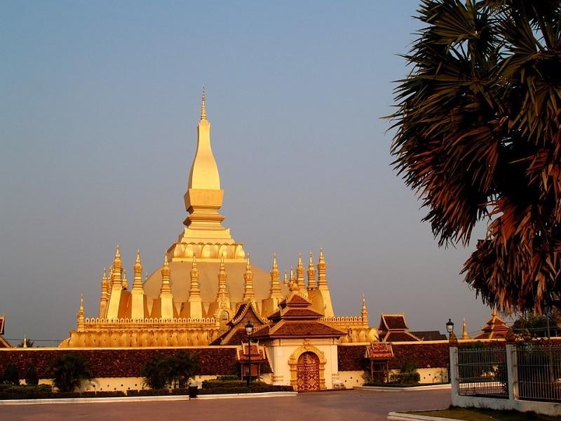 Golden Pagoda at Sunset in Vientiane, Laos