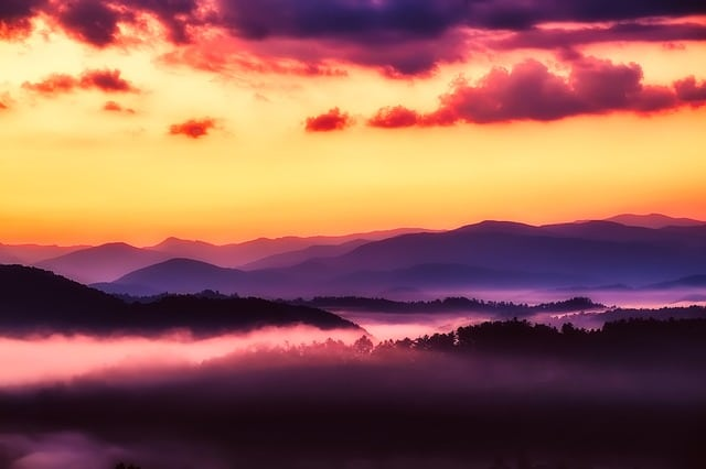 Purple sunset over the Smoky Mountains.