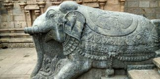 Elephant statue in a temple in Tamil Nadu, South India.