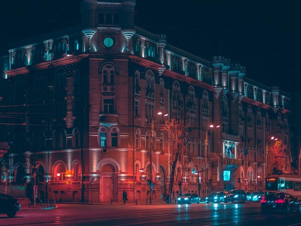 Bucharest at night, Romania